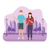 par som bär medicinska masker framför staden