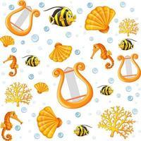sömlös fairy sea djur tecknad stil mönster vektor