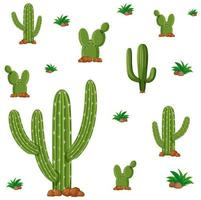 nahtloses Design mit grünen Kaktuspflanzen vektor