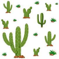 sömlös design med gröna kaktusväxter vektor