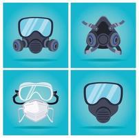 Set mit Biosicherheitsmasken und Mundschutzschutzzubehör