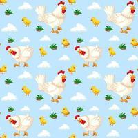 sömlösa mönster med kycklingar i himlen