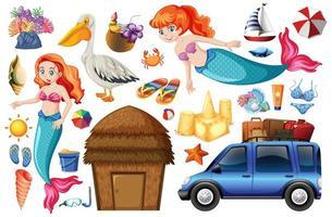 uppsättning sjöjungfru och sommarsemester ikoner och karaktärer vektor
