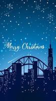 blå tonad scen med jul i staden vektor