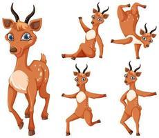 Satz Gazelle Zeichentrickfiguren vektor