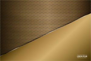 Metallic Luxus Gold Panel über Kohlefaser Textur vektor