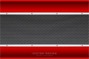 metalliska röda och silvergränser och kolfiberstruktur vektor