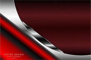 metallisk röd och silverdesign med kolfiberstruktur vektor