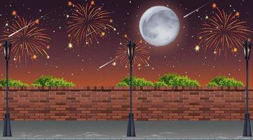 Straßenansicht mit Feier Feuerwerk Szene