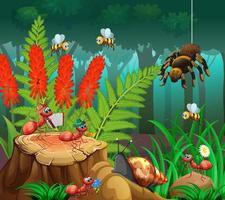 många insekter i naturscenen vektor
