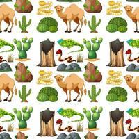 safari djur sömlösa mönster med söta djur vektor