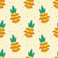 ananas tropisk frukt sömlösa mönster vektor