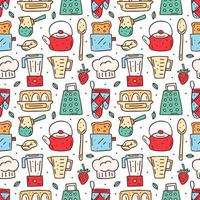 Hand gezeichnete bunte Küche nahtloses Muster