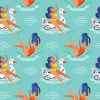 flickor hoppar och flyter i vatten sömlösa mönster