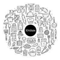 Hand gezeichnete schwarze Umriss Küchenelemente Kreisrahmen