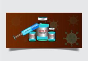Coronavirus-Impfflasche und Spritzenset vektor