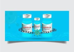 covid-19-vaccin med kedja runt flaskor vektor