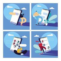 uppsättning affisch med män och smartphones chatta vektor