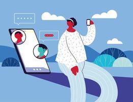 kvinna med smartphone chatta vektor