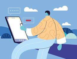 man med smartphone chatta vektor