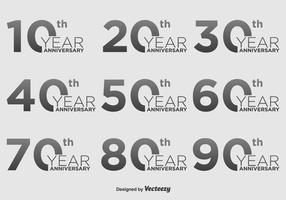Jahrestag Vektor Icon Set
