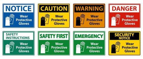 bära skyddshandskar färgglada teckenuppsättning