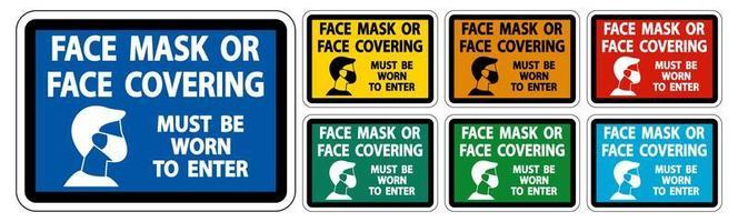 ansiktsmask som täcker måste bäras teckenuppsättning