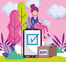 Frau mit Smartphone-Abstimmungskartenschablone vektor