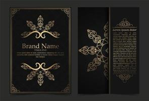 schwarz und gold Luxus Vintage verzierte Bezüge vektor