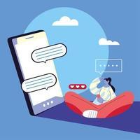 kvinna med chatt med smarttelefonenhet vektor