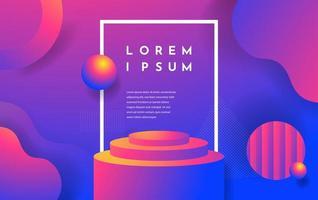 flüssige Formen und Podium mit rosa und violettem Farbverlauf vektor