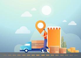 Online-Shopping und Lieferung mit mobilem Smartphone vektor