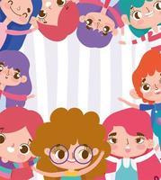 glückliche Kindercharaktere Grußkartenschablone vektor
