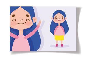 kleines Mädchen lächelnde Grußkartenschablone vektor