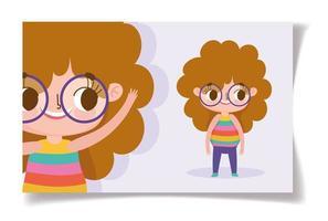 kleines Mädchen mit Brille Grußkartenschablone vektor