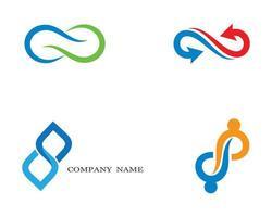 oändlighetssymbol och logotypuppsättning vektor