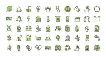 Reihe von grünen Symbolen für ökologische und ökologische Nachhaltigkeit vektor