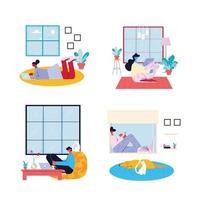 uppsättning inomhus scener av människor som arbetar hemifrån vektor
