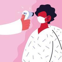 läkaren mäter temperaturen på en man i en vit medicinsk mask