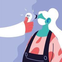 läkare mäter kroppstemperaturen hos en kvinna i en medicinsk mask