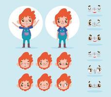 liten pojke karaktär med olika ansikten uppsättning vektor