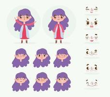 kleines Mädchen mit lila Haaren mit verschiedenen Köpfen und Gesichtern gesetzt vektor