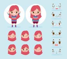 liten flicka karaktär med olika huvuden och ansikten uppsättning