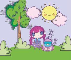 söt anime flicka med ryggsäck utomhus
