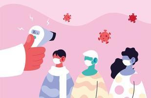 läkare kontrollera temperaturen hos en grupp människor