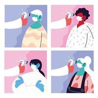 Satz von Bildern mit einem Arzt, der die Temperatur von Menschen misst
