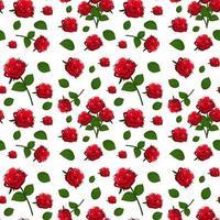 Muster mit niedlichen roten Rosen und Blättern vektor