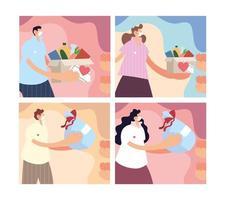 Reihe von Szenen mit Menschen, die für wohltätige Zwecke spenden vektor