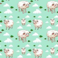 weißes Schaf- und Wolkenmuster