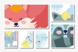 små djur som sover olika ramkortsmall vektor